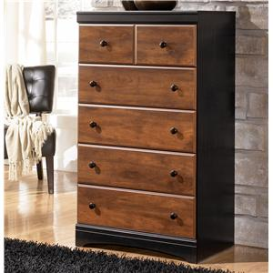 Two-Tone Finish Chest with 5 Drawers