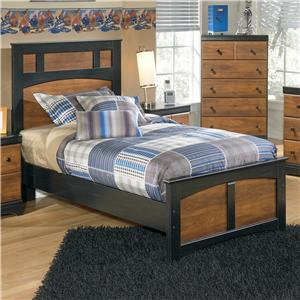 Two-Tone Finish Twin Platform Bed