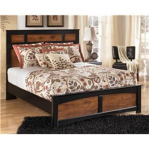 Two-Tone Finish Queen Panel Bed