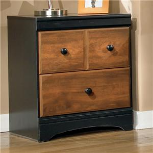 Two Drawer Night Stand in Two-Tone Finish