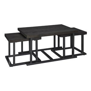 Rectangular Cocktail Table with 2 Stools and Square End Table Set