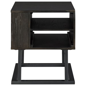 Contemporary Square End Table with Outlets and USB Ports
