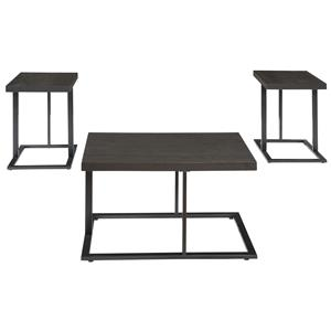 3-Piece Occasional Table Set with Modern Metal Bases & Distressed Ash Veneer Tops