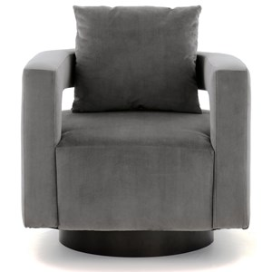 Contemporary Barrel Swivel Accent Chair in Velvet Fabric with with Loose Pillow