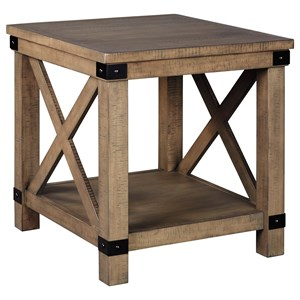 Farmhouse Rectangular End Table with Metal Accents