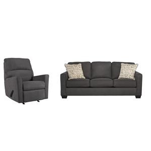 Charcoal Sofa and Recliner Set