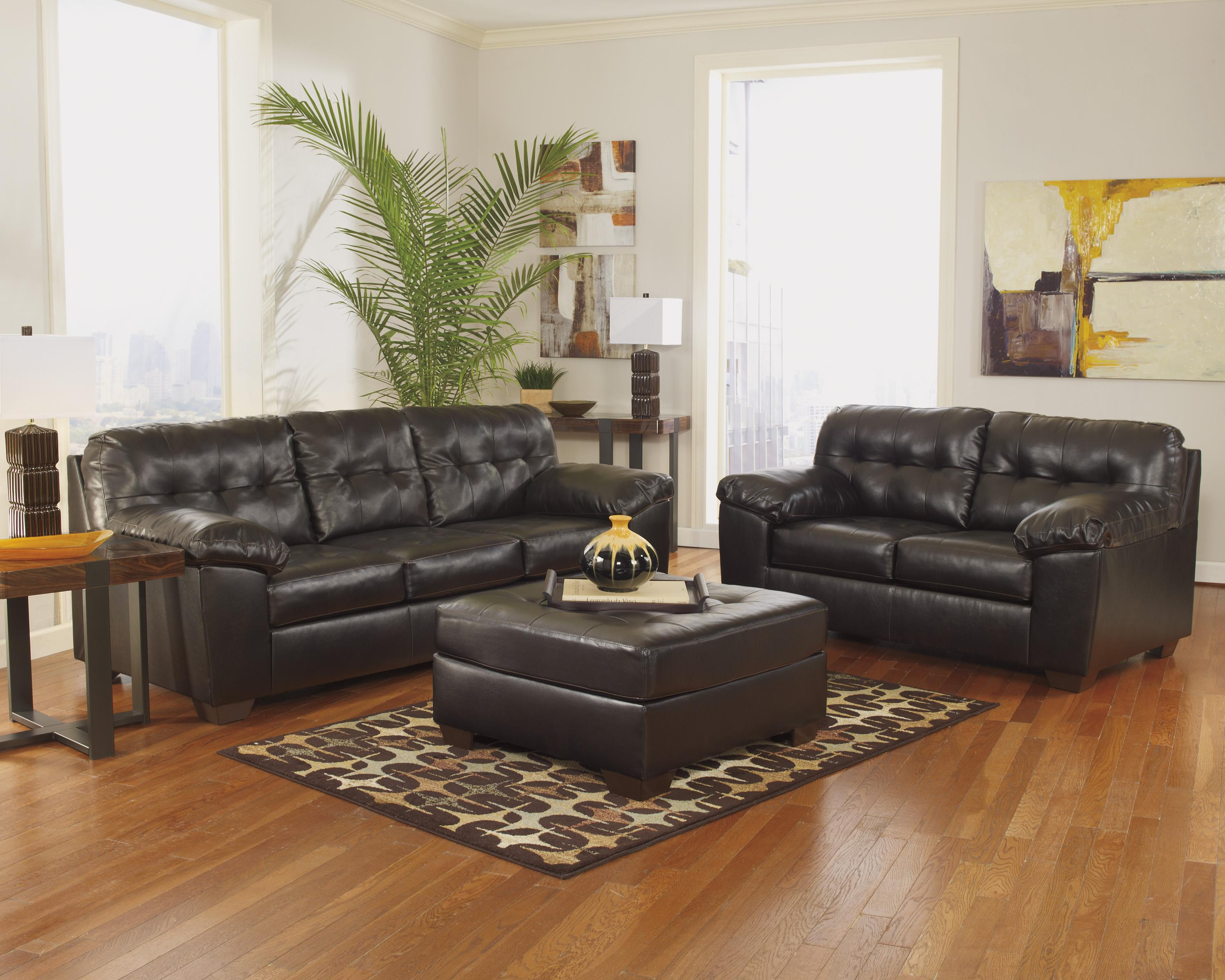 Alliston DuraBlend® - Chocolate Stationary Living Room Group by Signature Design by Ashley at Catalog Outlet