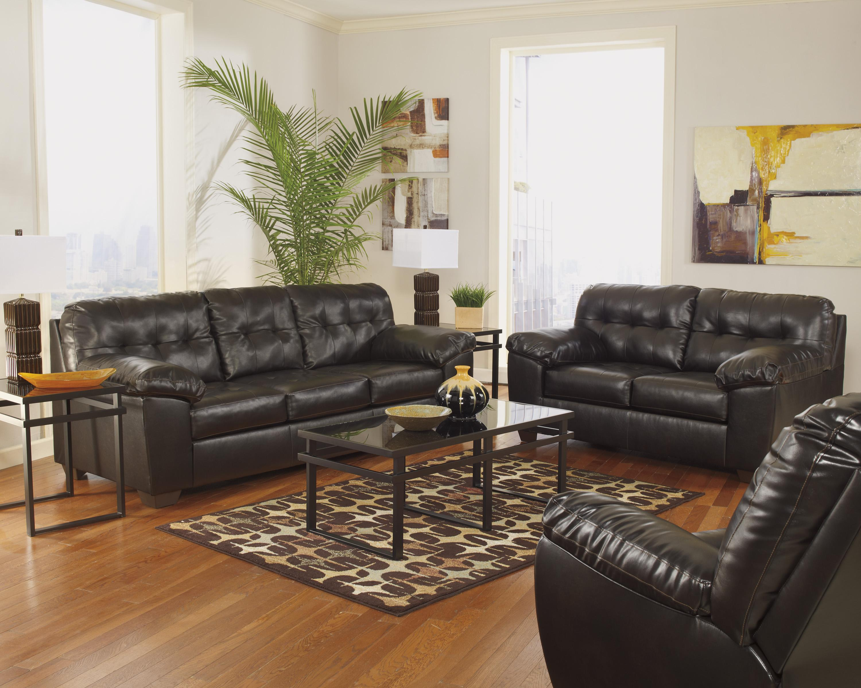 Alliston DuraBlend® - Chocolate Stationary Living Room Group by Signature Design by Ashley at Beds N Stuff
