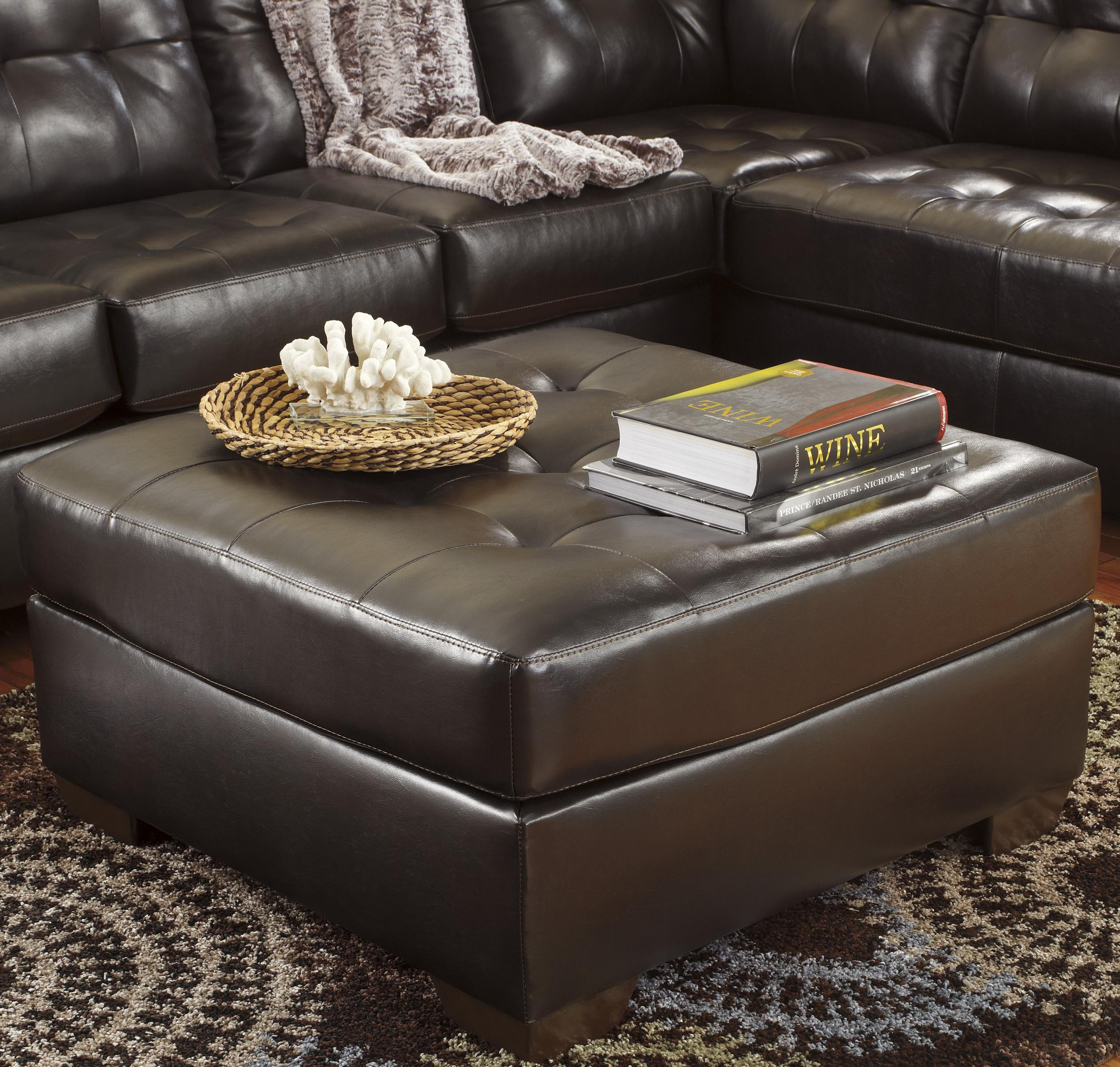 Alliston DuraBlend® - Chocolate Oversized Accent Ottoman by Signature Design by Ashley at Rife's Home Furniture