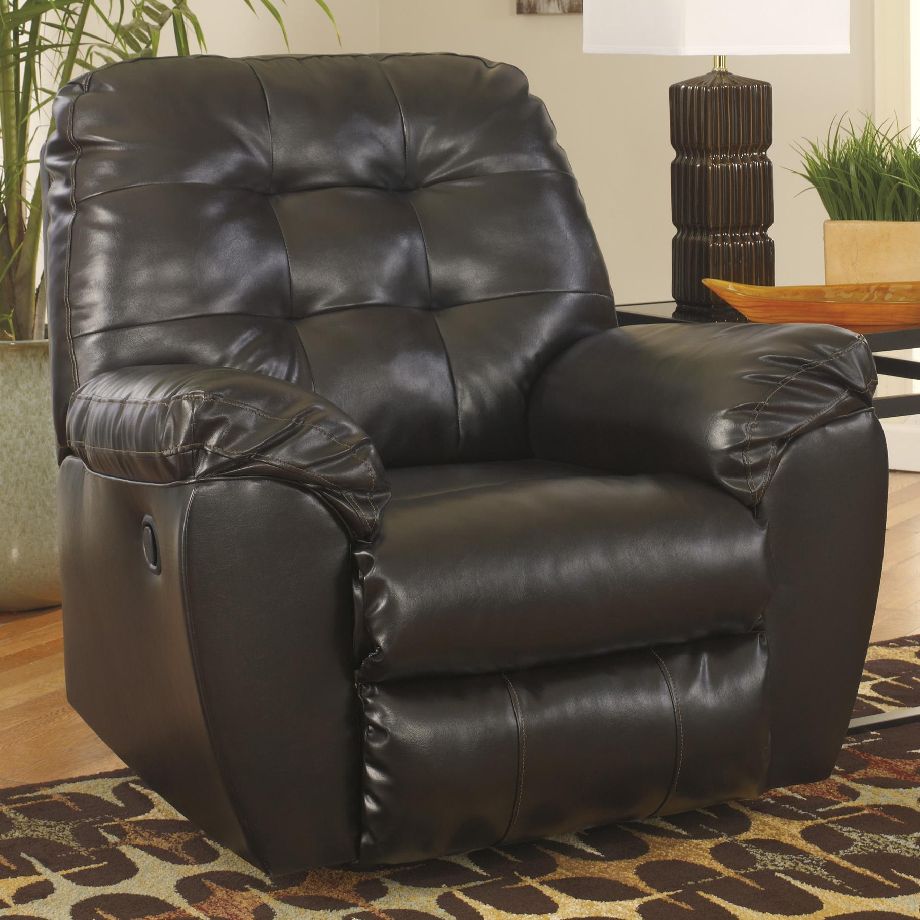 Alliston DuraBlend® - Chocolate Rocker Recliner by Signature Design by Ashley at Lapeer Furniture & Mattress Center