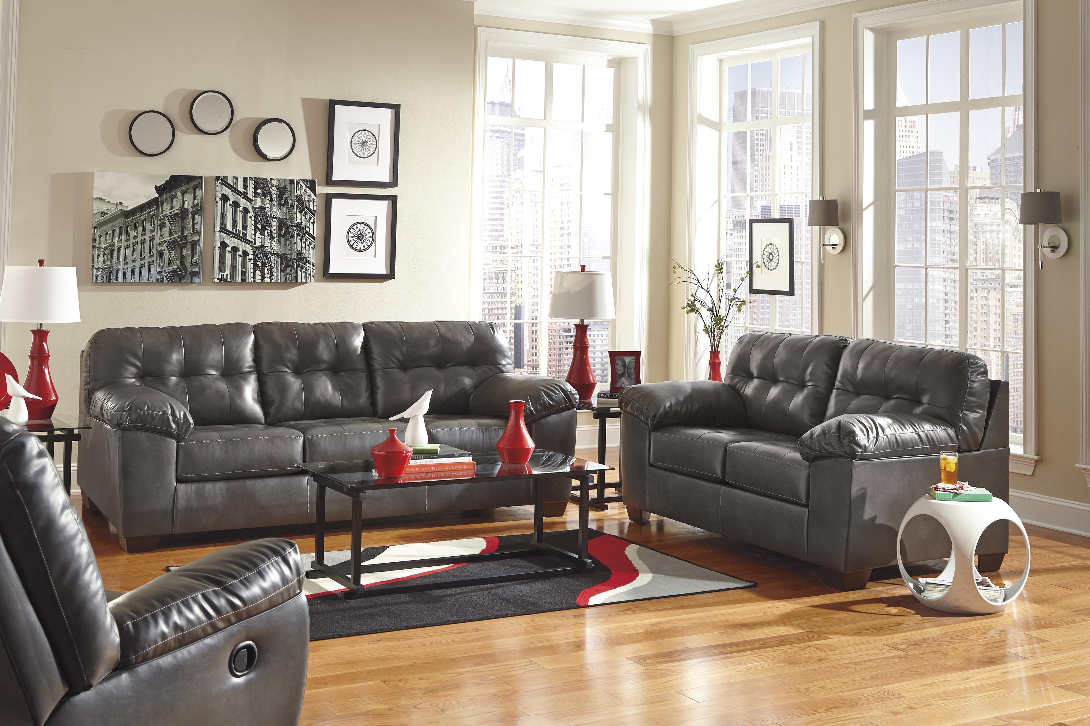 Alliston DuraBlend® - Gray Stationary Living Room Group by Signature Design by Ashley at Household Furniture