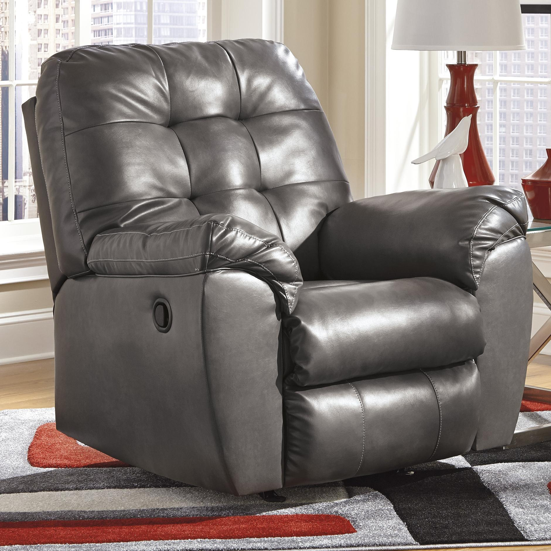 Alliston DuraBlend® - Gray Rocker Recliner by Signature Design by Ashley at Catalog Outlet
