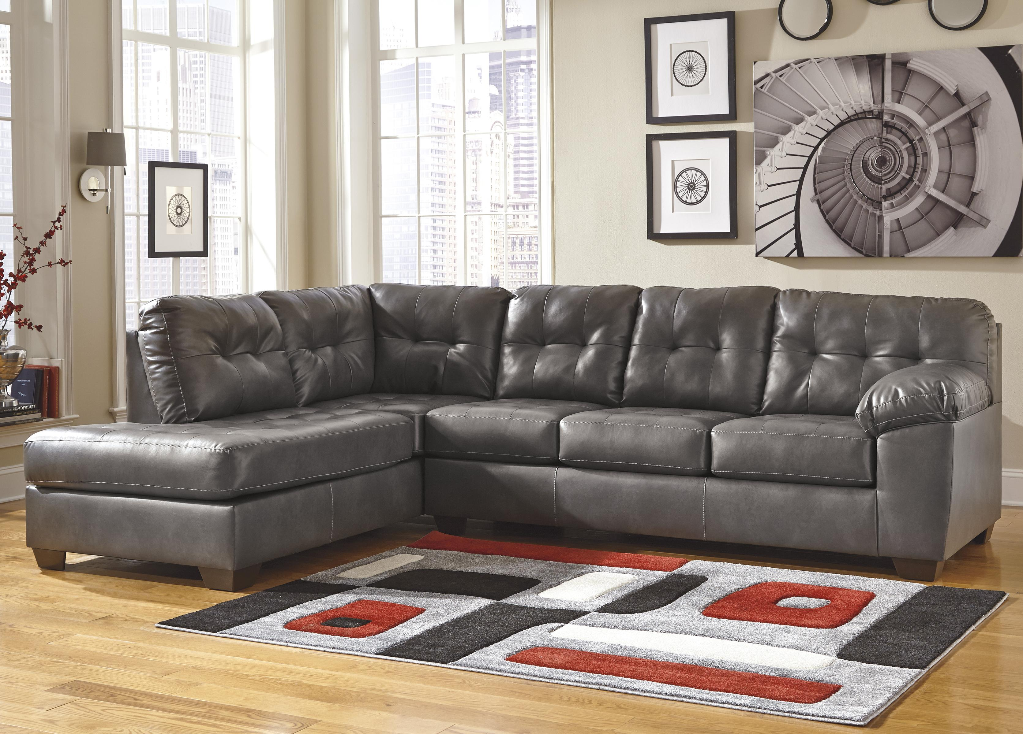 Alliston DuraBlend® - Gray Sectional w/ Left Chaise by Signature Design by Ashley at Lapeer Furniture & Mattress Center