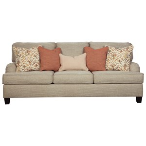 Queen Sofa Sleeper with English Arms and Memory Foam Mattress