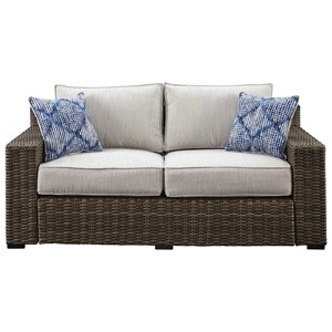 Contemporary Outdoor Loveseat with Cushion