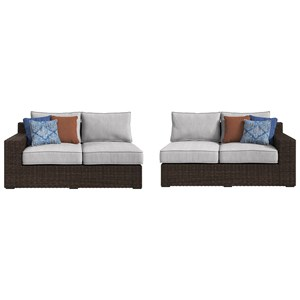 Right and Left Arm Facing Loveseats with Cushion