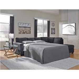 2 Piece Left Arm Facing Sleeper Sofa, Right Arm Facing Chaise Sectional and Ottoman Set