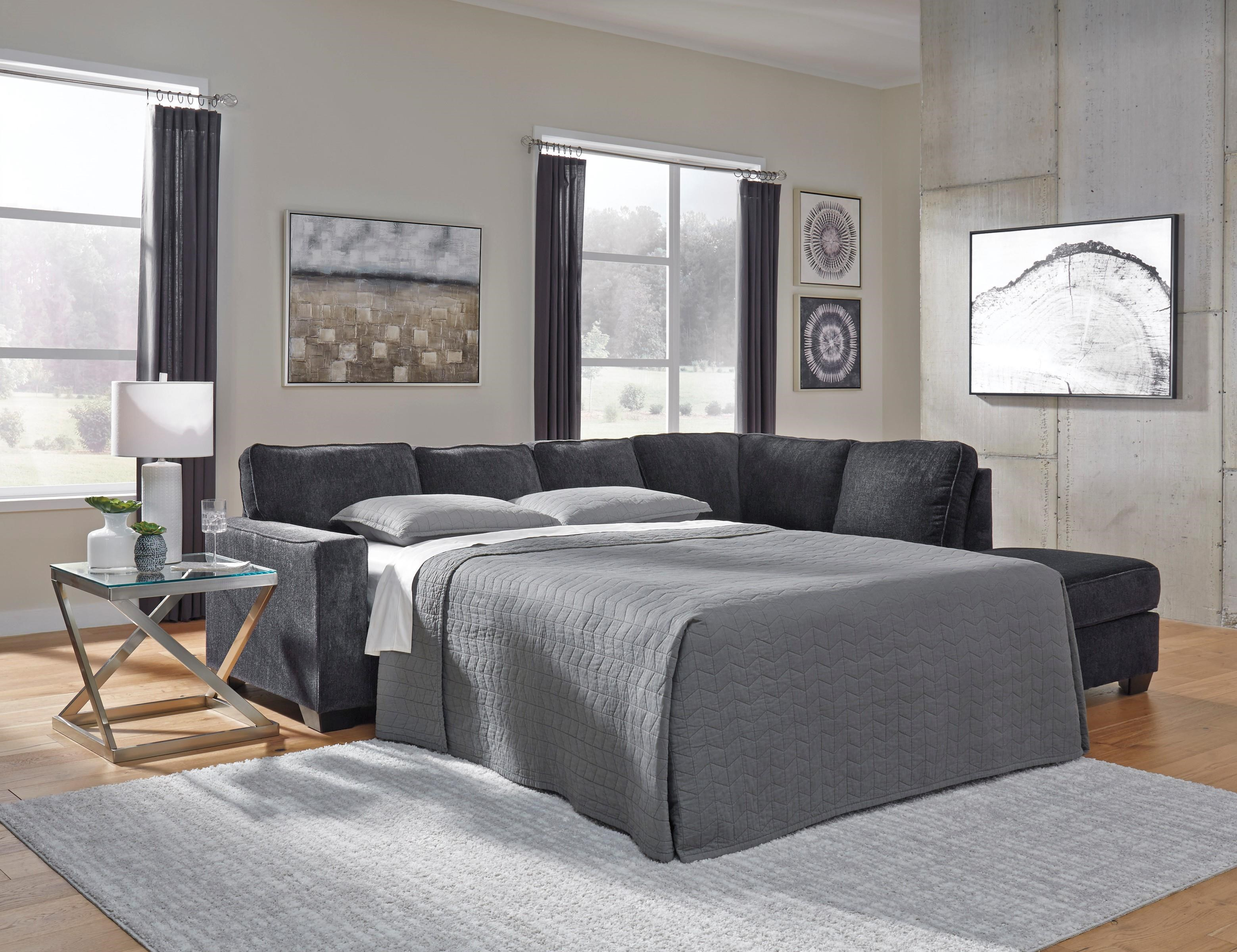 2 PC Sleeper Sectional, Chair and Ottoman Se