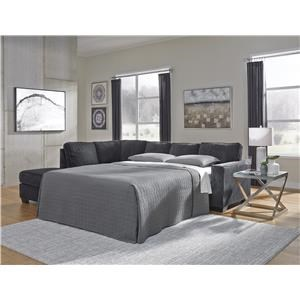 2 Piece Right Arm Facing Sleeper Sofa, Left Arm Facing Chaise Sectional, Chair and Ottoman Set