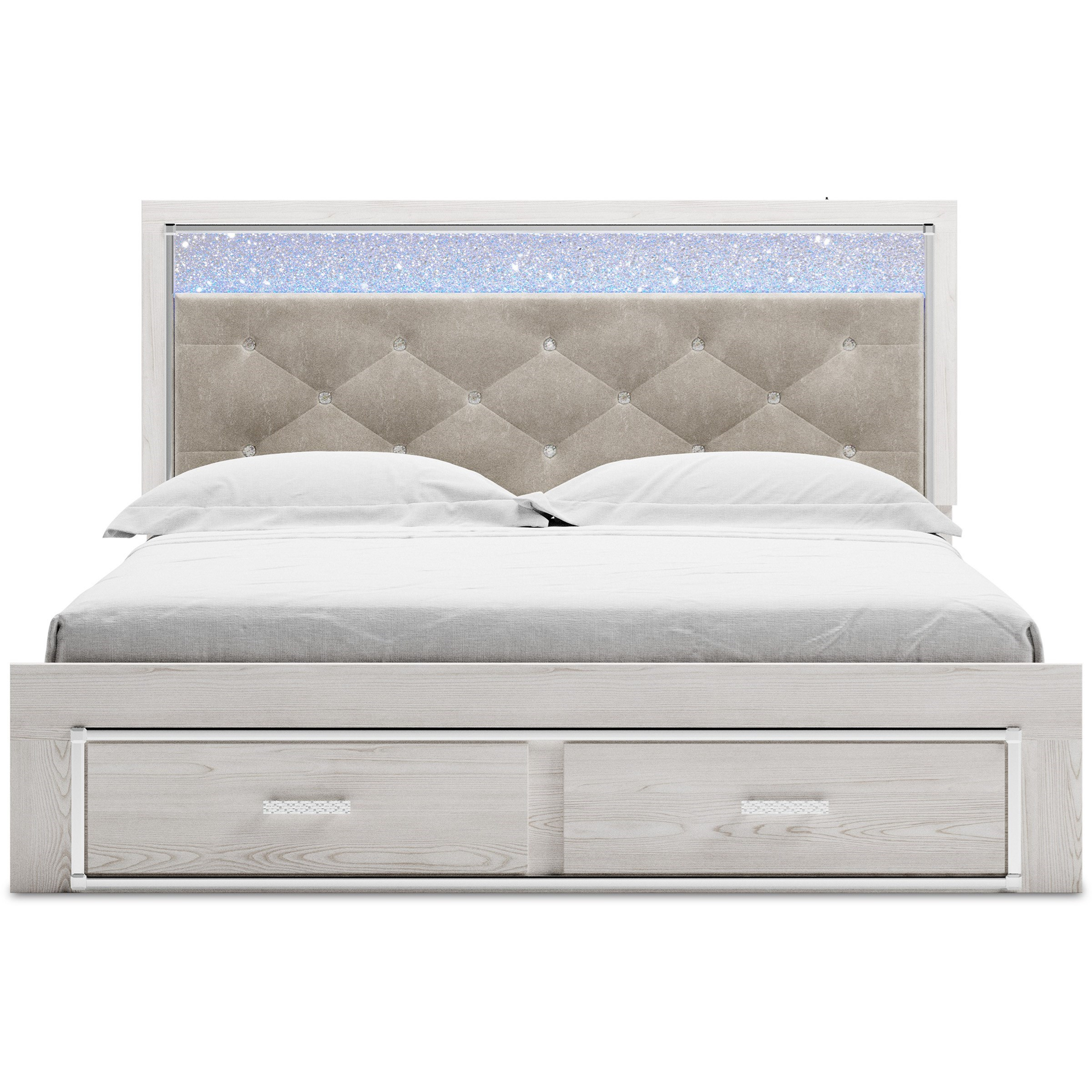 Altyra King Storage Bed with Upholstered Headboard by Signature Design by Ashley at Carolina Direct