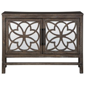 Accent Cabinet with Mirror Doors and Wood Fretwork