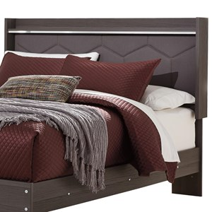 Queen Upholstered Panel Headboard with Shelf and Light