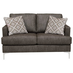 Contemporary RTA Loveseat with Metal Legs