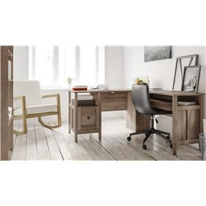 """4 Piece Home Office 58"""" L-Desk, 2 Drawer File Cabinet and a Swivel Desk Chair Set"""