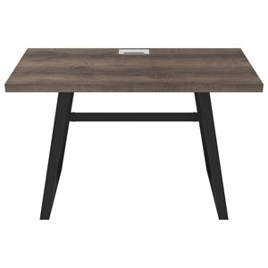 Home Office Small Desk with Black Metal Base