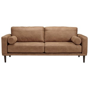 Mid-Century Modern Brown Faux Leather Sofa