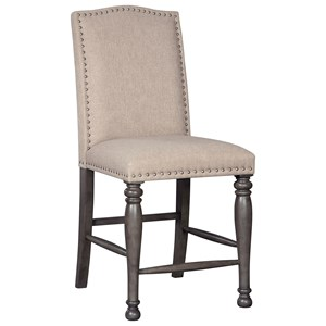 Transitional Upholstered Counter Height Barstool with Nailhead Trim