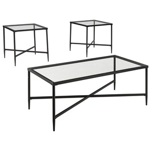 3-Piece Metal & Glass Occasional Table Set