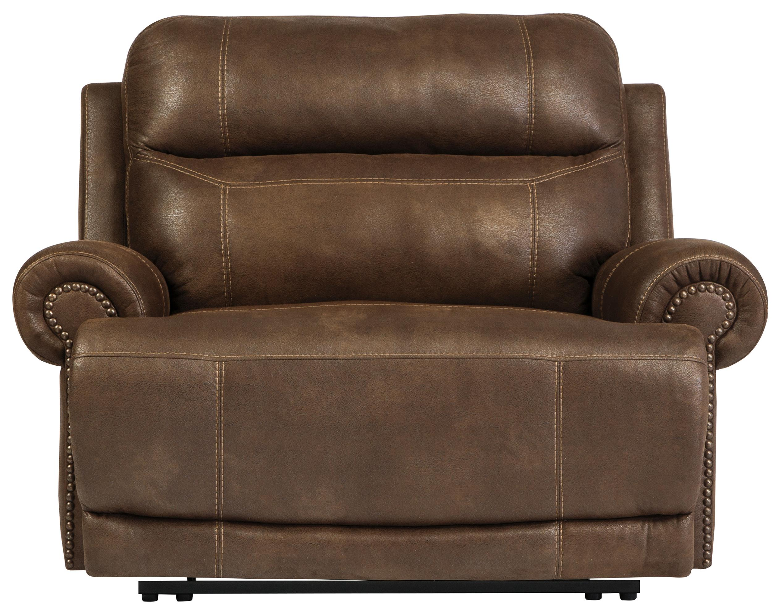 Austere - Brown Zero Wall Power Wide Recliner by Signature Design at Fisher Home Furnishings