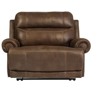 Zero Wall Power Wide Recliner with Rolled Arms & Nailhead Trim
