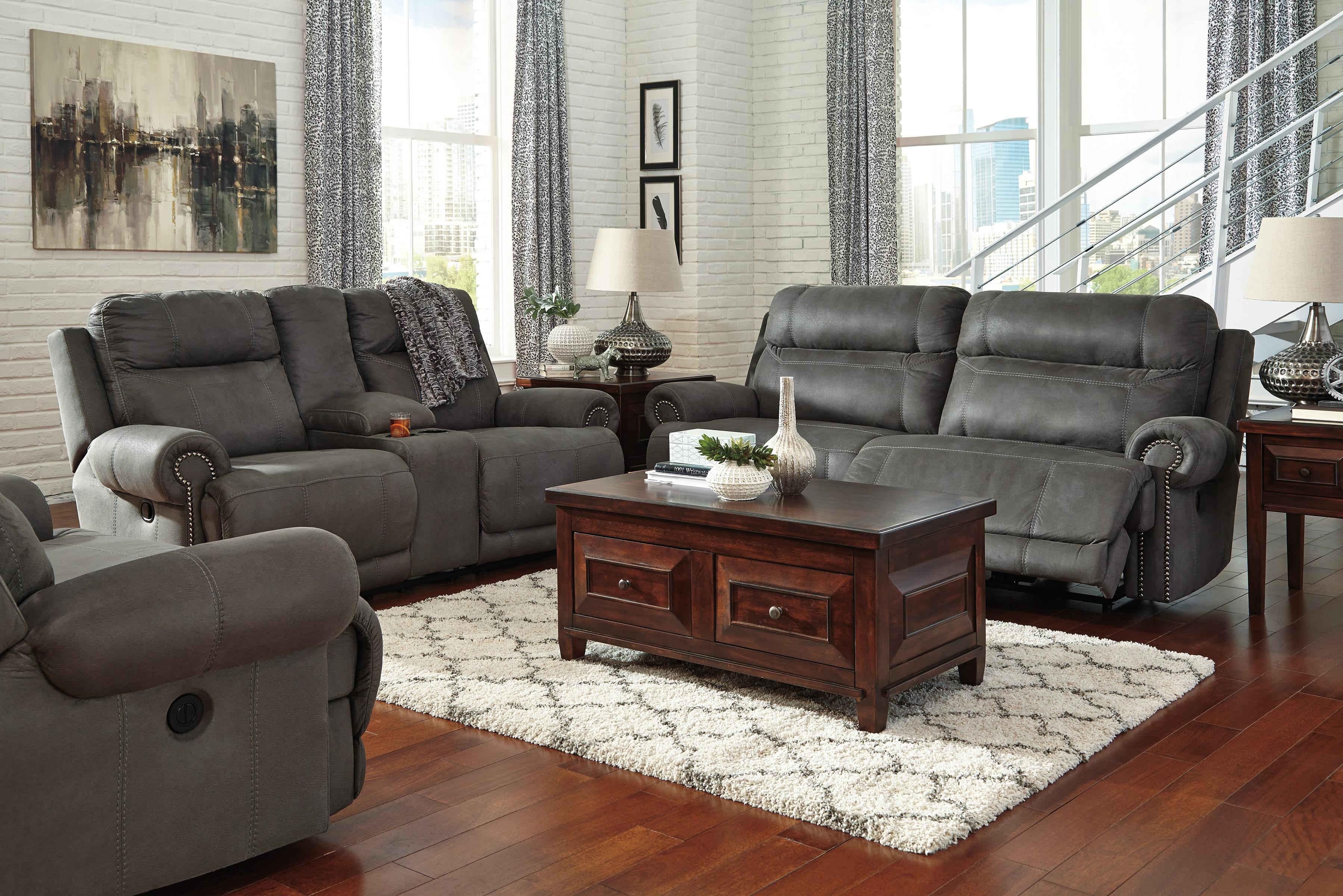 Austere - Gray Reclining Living Room Group by Signature Design by Ashley at Zak's Warehouse Clearance Center