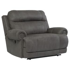 Zero Wall Recliner with Rolled Arms and Nailhead Trim