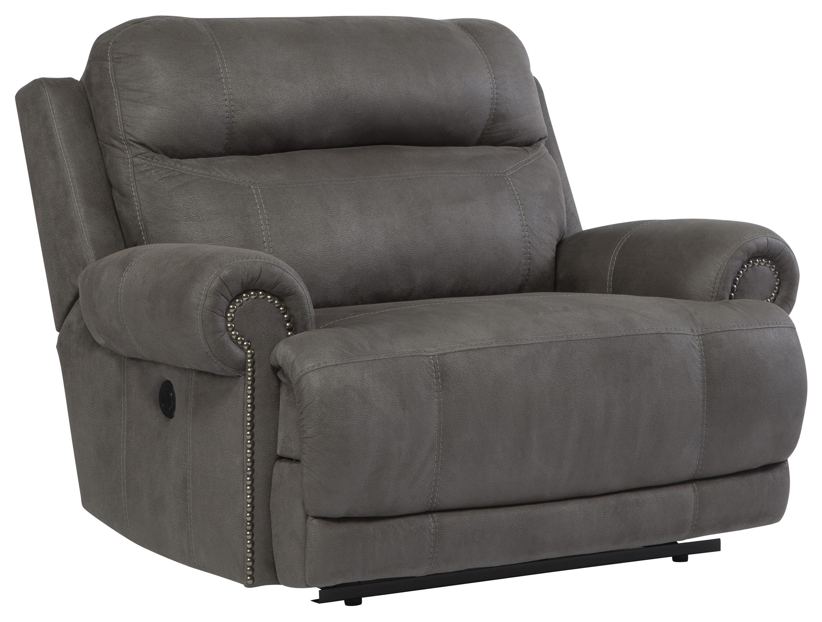 Austere - Gray Zero Wall Power Wide Recliner by Ashley Signature Design at Rooms and Rest