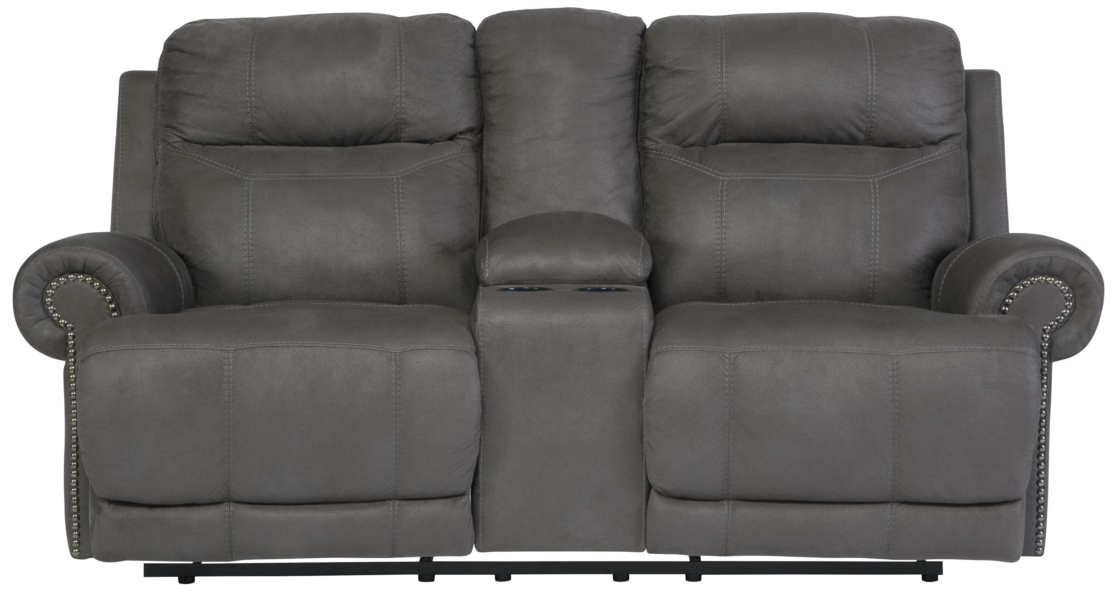 Austere - Gray Double Reclining Loveseat w/ Console & Power by Signature Design at Fisher Home Furnishings