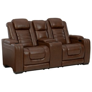 Power Reclining Loveseat with Adjustable Headrest and Built-In Massage and Heat Features