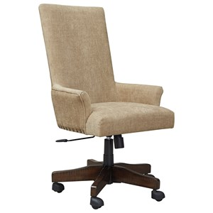 Contemporary Upholstered Swivel Desk Chair with Nailhead Trim