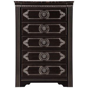 Traditional 5-Drawer Chest with Faux Marble Top