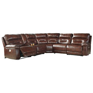 Power Reclining Sectional with Power Headrest and Console (Clackamas Store Only)