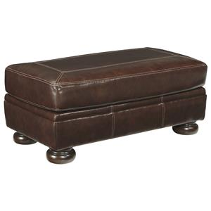 Rectangular Leather Match Ottoman with Bun Feet