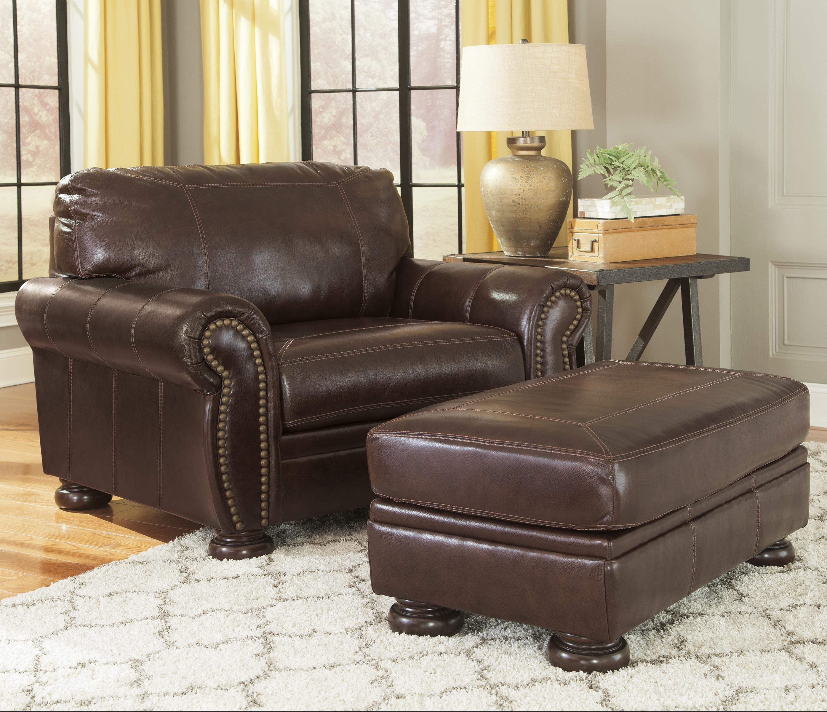 Banner Chair and a Half & Ottoman by Signature Design by Ashley at Lapeer Furniture & Mattress Center