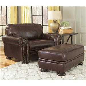 Traditional Leather Match Chair and a Half & Ottoman