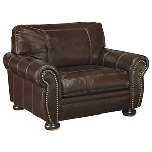 Traditional Leather Match Chair and a Half with Rolled Arms, Nailhead Trim, & Bun Feet