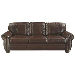 Traditional Leather Match Sofa with Rolled Arms, Nailhead Trim, & Bun Feet