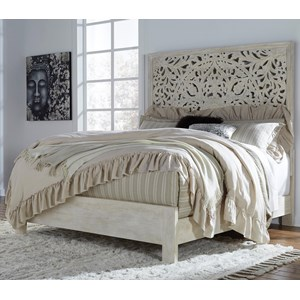 Solid Wood King Panel Bed with Hand Carved Details in White Finish