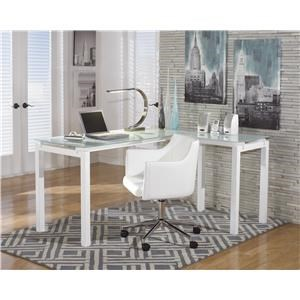 L-Desk and Office Swivel Chair Set