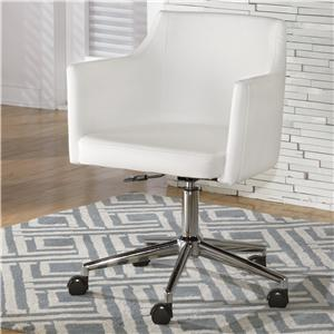 White Vinyl Home Office Swivel Desk Chair